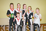 Kick Boxing Club : Members of the Listowel Korean Kick Boxing Club who won medals in the Best Of The Best Championships held at The Roadstone Centre, Dublin on Saturday last. L- R : Naoimi O'Brien, Grand Champion, Mags Horgan, Osha Horgan-Slemon, Dyon Keane & Aaron Shine and Ethan Keane in front...........
