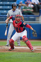 Salem Red Sox catcher Jake Romanski (22) checks the runner at first base during the game against the Winston-Salem Dash at LewisGale Field at Salem Memorial Ballpark on May 14, 2015 in Salem, Virginia.  The Red Sox defeated the Dash 1-0.  (Brian Westerholt/Four Seam Images)