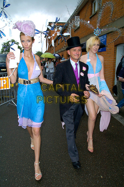 GUESTS.The Royal Ascot Ladies Day, Day 3, Ascot, Berkshire, England..June 21st, 2007.full length top hat black grey gray trousers blue pink dress sheer halterneck flowers feathers .CAP/CAN.©Can Nguyen/Capital Pictures