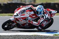 Carlos Checa (ESP) riding the Ducati Panigale 1199R (7) of the Team Ducati Alstare rounds turn 11 during a practise session on day two of round one of the 2013 FIM World Superbike Championship at Phillip Island, Australia.