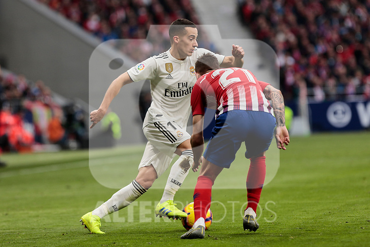 Atletico de Madrid's Lucas Hernandez and Real Madrid's Lucas Vazquez during La Liga match between Atletico de Madrid and Real Madrid at Wanda Metropolitano Stadium in Madrid, Spain. February 09, 2019. (ALTERPHOTOS/A. Perez Meca)