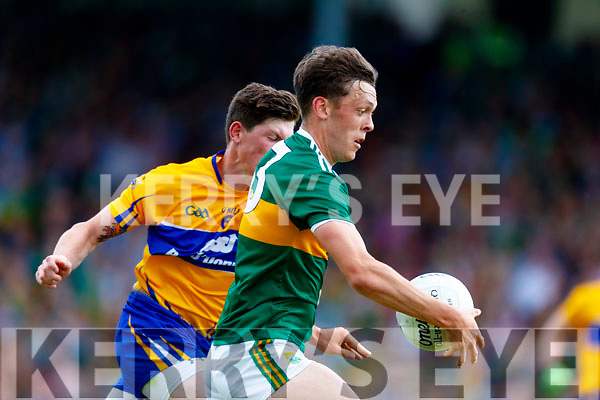 David Clifford Kerry in action against Aaron Fitzgerald Clare during the Munster GAA Football Senior Championship semi-final match between Kerry and Clare at Fitzgerald Stadium in Killarney on Sunday.