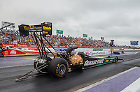 May 1, 2016; Baytown, TX, USA; NHRA top fuel driver Leah Pritchett during the Spring Nationals at Royal Purple Raceway. Mandatory Credit: Mark J. Rebilas-USA TODAY Sports