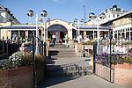 Seaside outdoor cafe terrace, Bridlington, Yorkshire, England