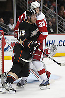 03/02/11 Anaheim, CA: Anaheim Ducks center Ryan Getzlaf #15 and Detroit Red Wings defenseman Brad Stuart #23 during an NHL game between the Detroit Red Wings and the Anaheim Ducks at the Honda Center. The Ducks defeated the Red Wings 2-1 in OT.