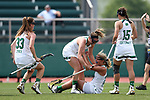 RICHMOND, VA - APRIL 27: Notre Dame's Grace Miller (below) celebrates her goal with Casey Pearsall (center), Samantha Lynch (33) and Cortney Fortunato (15). The Notre Dame Fighting Irish played the Boston College Eagles on April 27, 2017, at Sports Backers Stadium in Richmond, VA in an ACC Women's Lacrosse Tournament quarterfinal match. Boston College won the game 17-14.