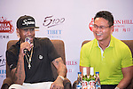 Allen Iverson (left) and Ken Chu (right) during the Sports Legends Press Conference on the sidelines of the World Celebrity Pro-Am 2016 Mission Hills China Golf Tournament on 22 October 2016, in Haikou, China. Photo by Weixiang Lim / Power Sport Images
