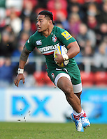Manu Tuilagi in possession. Aviva Premiership match, between Leicester Tigers and Exeter Chiefs on March 23, 2014 at Welford Road in Leicester, England. Photo by: Patrick Khachfe / JMP