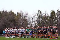 TORONTO, ON - MAY 05:  The Toronto Wolfpack and the Swinton Lions line up for the anthems, prior to the first half of a Betfred Championship match at Fletcher's Fields on May 5, 2018 in Toronto, Canada.  (Photo by Vaughn Ridley/SWpix.com)
