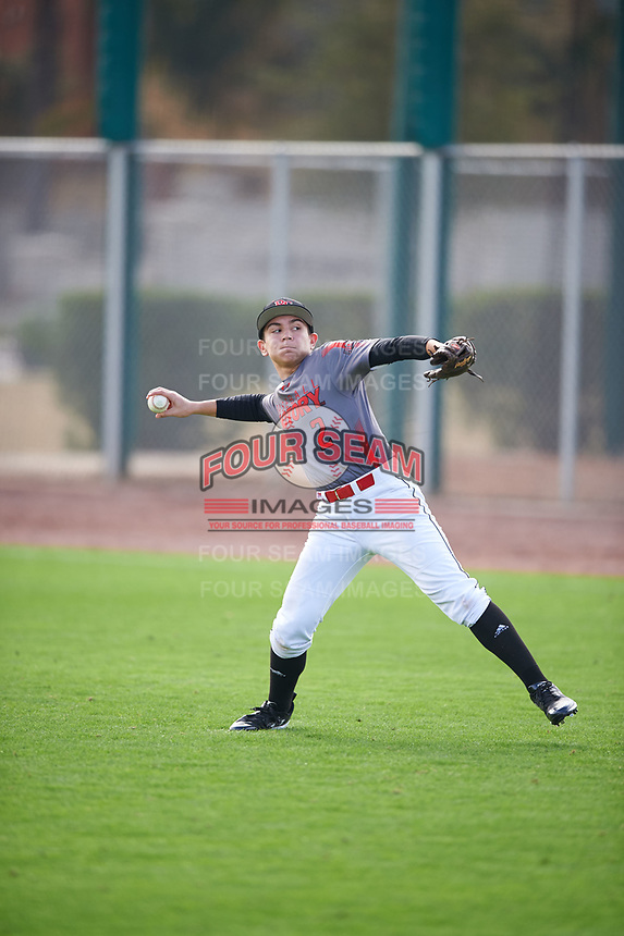 Jacob Boyd (2) of Loganville High School in Loganville, Georgia during the Under Armour All-American Pre-Season Tournament presented by Baseball Factory on January 14, 2017 at Sloan Park in Mesa, Arizona.  (Mike Janes/MJP/Four Seam Images)