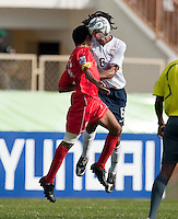 Zachary Herold goes up for he header. US Under-17 Men's National Team defeated United Arab Emirates 1-0 at Gateway International  Stadium in Ijebu-Ode, Nigeria on November 1, 2009.