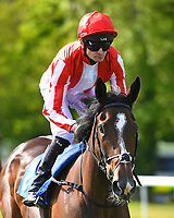Anbaa ridden by Robert Havlin goes down to the start of The Smith & Williamson Fillies' Novice Stakes (Class 5))  during Afternoon Racing at Salisbury Racecourse on 17th May 2018