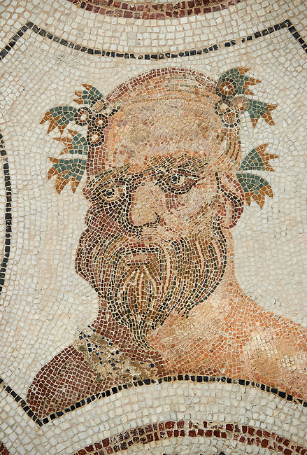 Picture of a Roman mosaics design depicting Sileuns, from the ancient Roman city of Thysdrus. 3rd century AD. El Djem Archaeological Museum, El Djem, Tunisia.