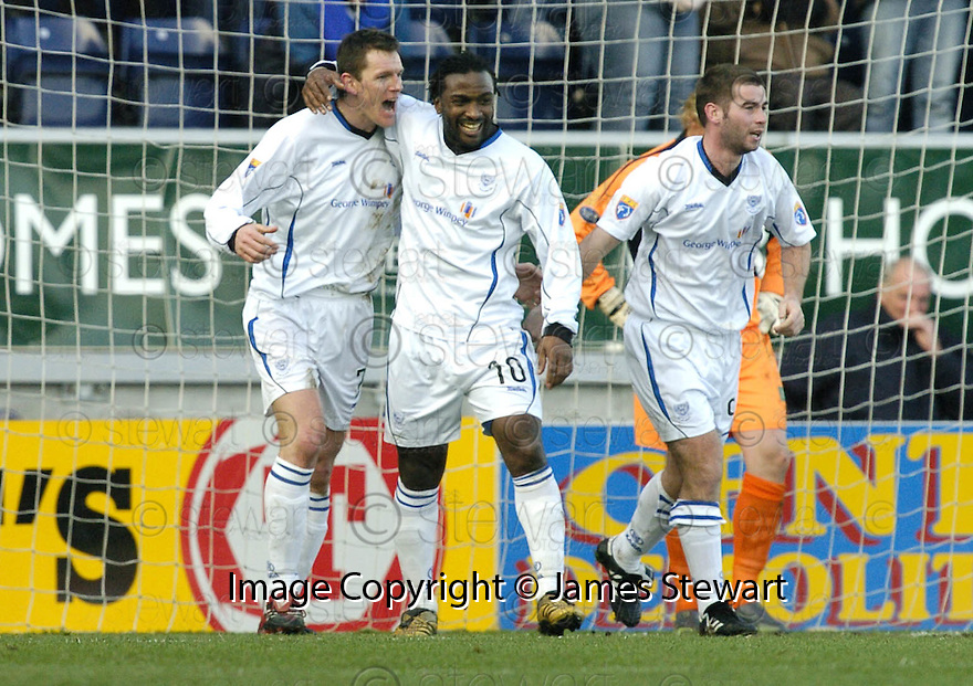 03/02/2007       Copyright Pic: James Stewart.File Name : sct_jspa08_falkirk_v_st_johnstone.MARTIN HARDIE  CELEBRATES AFTER HE SCORES ST JOHNSTONE'S FIRST.....James Stewart Photo Agency 19 Carronlea Drive, Falkirk. FK2 8DN      Vat Reg No. 607 6932 25.Office     : +44 (0)1324 570906     .Mobile   : +44 (0)7721 416997.Fax         : +44 (0)1324 570906.E-mail  :  jim@jspa.co.uk.If you require further information then contact Jim Stewart on any of the numbers above.........