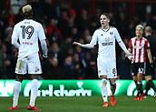 2nd December 2017, Griffen Park, Brentford, London; EFL Championship football, Brentford versus Fulham; Stefan Johansen of Fulham arguing with Sheyi Ojo of Fulham