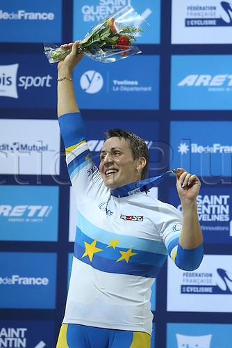 21.10.2016. Saint Quentin-en-Yvelines. Paris. UEC Track Elite European Championship.  PODIUM Keirinfor Women. Gold medal winner<br /> BASOVA Liubov UKRAINE