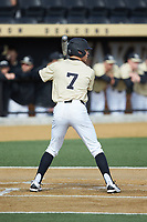 Nick DiPonzio (7) of the Wake Forest Demon Deacons at bat against the Louisville Cardinals at David F. Couch Ballpark on March 18, 2018 in  Winston-Salem, North Carolina.  The Demon Deacons defeated the Cardinals 6-3.  (Brian Westerholt/Four Seam Images)