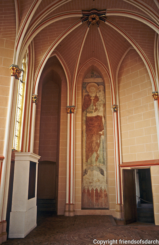 Marburg: Interior entry in Marburg Castle. Lovely painting within an arch. Photo '87.