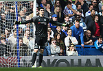 Chelsea's Thibaut Courtois looks on dejected afetr going 2-1 down during the Premier League match at the Stamford Bridge Stadium, London. Picture date: April 1st, 2017. Pic credit should read: David Klein/Sportimage via PA Images