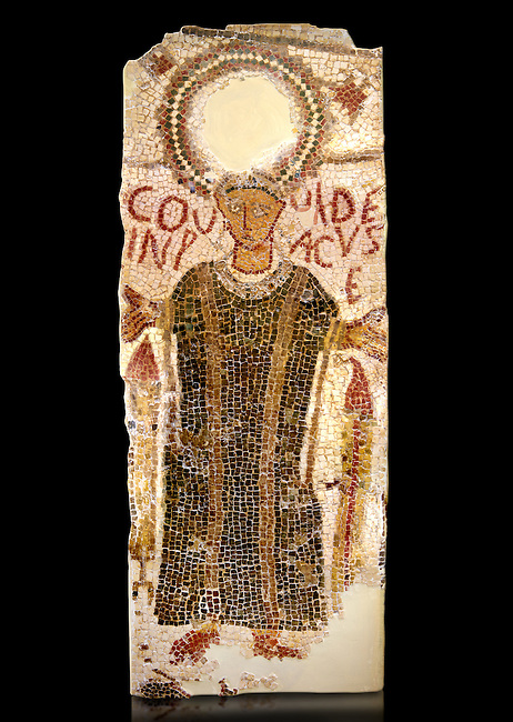 "5th century Eastern Roman Byzantine  funerary mosaic from Tarbaka in the Roman province of Africa Proconsularis , present day Tunisia, with a crown at the top probably a Christogram  (Latin Monogramma Christi ) is a monogram used as an abbreviation for the name of Jesus Christ, with a figure below and a latin text for the deceased "" Covuldeus in peace"". Either side of the figure are a lit candle which symbolises eternal faith. The Bardo National Museum, Tunis Tunisia.<br />