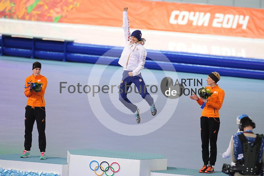 OLYMPICS: SOCHI: Adler Arena, 19-02-2014, Ladies' 5000m, podium, Ireen Wüst (NED), Martina Sábliková (CZE), Carien Kleibeuker (NED), ©photo Martin de Jong