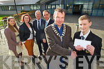 Mark Boyle (president Tralee Lions Club) presenting young ambassador youth award to Darragh Costello (Ballyseedy) also pictured l-r: Lisa Healy, Cora McElligott (teacher Mercy Mounthawk Secondary School, Tralee) Teddy Reynolds (Tralee Lions Club) and Pat Fleming (deputy principal Mercy Mounthawk Secondary School, Tralee).