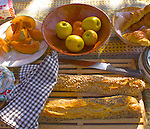 Still life, European Breakfast, Fruit and Bread, Southern France