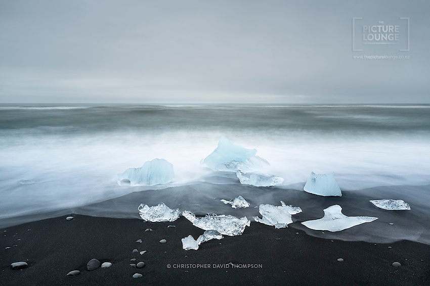 The amazing Jókulsárlon beach is renowned worldwide for its black sand and collection of icebergs that have washed down from the glaciers. Captured beautifully here by New Zealand based outdoor photographer Christopher David Thompson.