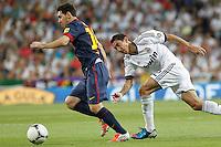 MADRID, ESPANHA, 29 AGOSTO 2012 - SUPERCUP DA ESPANHA -  REAL MADRID X BARCELONA - Lionel Messi (E) jogador do Barcelona  durante partida contra o Real Madrid na final da da Supercup da Espanha contra o Barcelona em , no estadio Santiago Bernabeu, em Madri na Espanha, nesta quarta-fera, 29. (FOTO: ALFAQUI / BRAZIL PHOTO PRESS).