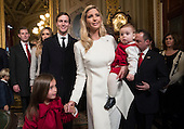 Ivanka Trump, with her husband Jared Kushner and their children, depart after her father President Donald Trump formally signed his cabinet nominations into law, Friday, Jan. 20, 2107, in the President's Room of the Senate on Capitol Hill in Washington. <br /> Credit: J. Scott Applewhite / Pool via CNP