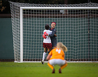 STANFORD, CA - November 23, 2018: Alison Jahansouz, Naomi Girma, at Laird Q. Cagan Stadium. The top seeded Stanford Cardinal defeated the Tennessee Volunteers 2-0 in the Quarterfinal of the NCAA tournament.