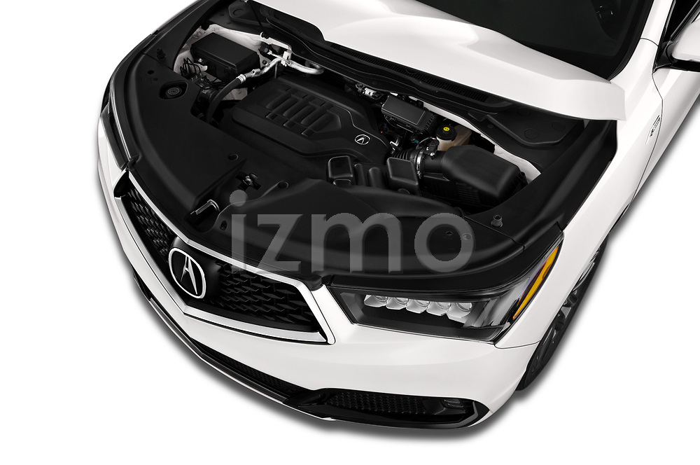 Car Stock 2019 Acura MDX A-Spec 5 Door SUV Engine  high angle detail view