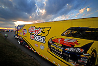 Oct 2, 2008; Talladega, AL, USA; The car hauler for NASCAR Sprint Cup Series driver Casey Mears enters the track at Talladega Superspeedway in preparations for the Amp Energy 500. Mandatory Credit: Mark J. Rebilas-