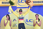 Race leader Greg Van Avermaet (BEL) BMC racing Team retains the Yellow Jersey at the end of Stage 9 of the 2018 Tour de France running 156.5km from Arras Citadelle to Roubaix, France. 15th July 2018. <br /> Picture: ASO/Pauline Ballet | Cyclefile<br /> All photos usage must carry mandatory copyright credit (&copy; Cyclefile | ASO/Pauline Ballet)