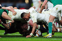 Anthony Watson of England in action at a scrum. RBS Six Nations match between England and Ireland on February 27, 2016 at Twickenham Stadium in London, England. Photo by: Patrick Khachfe / Onside Images