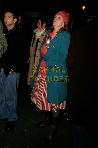 MIRANDA RICHARDSON.Cirque Du Soleil: Alegria afterparty at Roof Garden, London, UK..January 5th, 2006.Ref: SW.full length blue coat red hat striped stripes skirt brown boots.www.capitalpictures.com.sales@capitalpictures.com.©Capital Pictures.