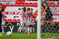 4th July 2020; Bet365 Stadium, Stoke, Staffordshire, England; English Championship Football, Stoke City versus Barnsley; Tyrese Campbell of Stoke City celebrates his second, and Stokes, third goal in the 38th minute