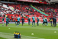 Swansea City during the pre-match warm-up prior to the Premier League match between Manchester United and Swansea City at the Old Trafford, Manchester, England, UK. Saturday 31 March 2018