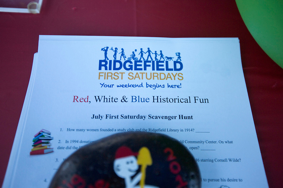 A detail from a flier for First Saturday events in downtown Ridgefield Saturday July 2, 2016. Downtown will hold its monthly first Saturday event, which was history themed this time. (Photo by Natalie Behring/ The Columbian)