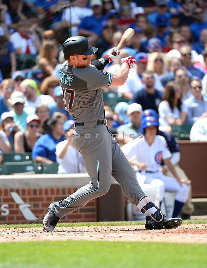 Arizona Diamondbacks Brandon Drury (27) during a game against the Chicago Cubs on June 5, 2016 at Wrigley Field in Chicago, IL. The Diamondbacks beat the Cubs 3-2.