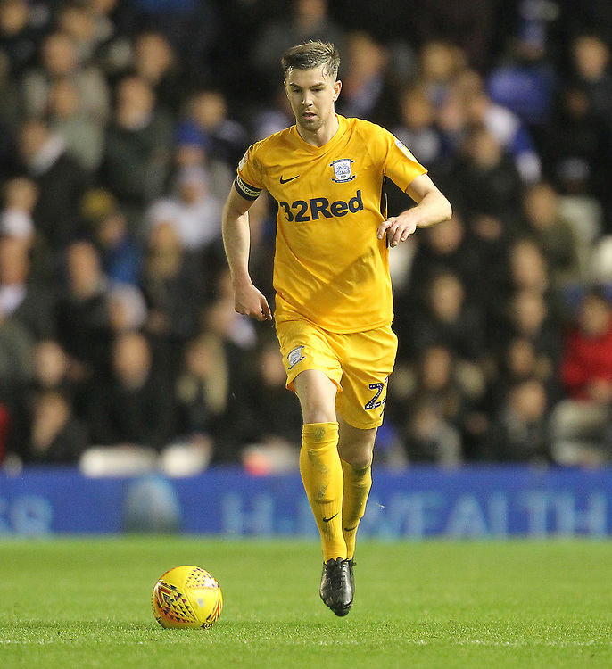 Preston North End's Paul Huntington<br /> <br /> Photographer Mick Walker/CameraSport<br /> <br /> The EFL Sky Bet Championship - Birmingham City v Preston North End - Saturday 1st December 2018 - St Andrew's - Birmingham<br /> <br /> World Copyright &copy; 2018 CameraSport. All rights reserved. 43 Linden Ave. Countesthorpe. Leicester. England. LE8 5PG - Tel: +44 (0) 116 277 4147 - admin@camerasport.com - www.camerasport.com