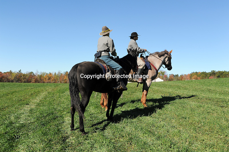 Civil War Reenactment Confederate Army Cavalry Soldiers