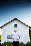 USA, Oregon, Willamette Valley, portrait of Chef and owner of the Joel Palmer House Restaurant Christopher Czarnecki, Dayton