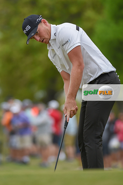 Matthew Wallace (ENG) watches his putt on 1 during day 3 of the WGC Dell Match Play, at the Austin Country Club, Austin, Texas, USA. 3/29/2019.<br /> Picture: Golffile | Ken Murray<br /> <br /> <br /> All photo usage must carry mandatory copyright credit (© Golffile | Ken Murray)
