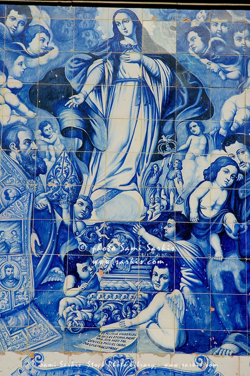 Spain andalusia cordoba san francisco church azulejos representing the virgin mary with angels on wall
