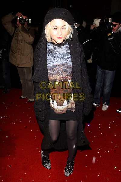 JAIME WINSTONE.Cecile & Hermione English National Ballet's Christmas VIP Party at St Martins Hotel, London, England..December 16th 2009 .full length black coat jacket hood hooded knit knitted sweater jumper tights skirt dress print reptile dinosaur crocodile alligator silver shoes beads beaded .CAP/AH.©Adam Houghton/Capital Pictures.