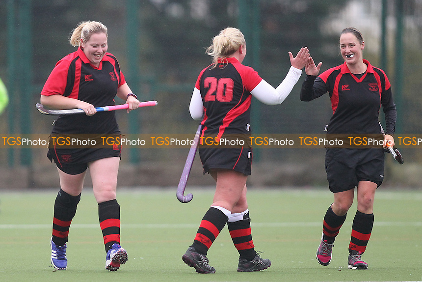 Havering open the scoring and celebrate-Havering HC Ladies 2nd XI vs Romford HC Ladies, Essex Women's League Field Hockey at Campion School on 12th November 2016