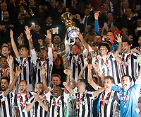 Juventus Players  holds up the trophy at the end  Coppa Italia ( Tim Cup) final soccer match,  Ac Milan  - Juventus Fc       at  the Stadio Olimpico in Rome  Italy , 09 May 2018