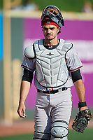 Richmond Flying Squirrels catcher Aramis Garcia (14) before a game against the Altoona Curve on May 15, 2018 at Peoples Natural Gas Field in Altoona, Pennsylvania.  Altoona defeated Richmond 5-1.  (Mike Janes/Four Seam Images)