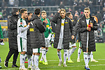 04.11.2018, Stadion im Borussia-Park, Moenchengladbach, GER, 1. FBL, Borussia Moenchengladbach vs. Fortuna Duesseldorf, DFL regulations prohibit any use of photographs as image sequences and/or quasi-video<br /> <br /> im Bild Schlussjubel / Schlu&szlig;jubel / Emotion / Freude / die Mannschaft von Moenchengladbach vor Fankurve / Fans / Fanblock / <br /> <br /> Foto &copy; nordphoto/Mauelshagen